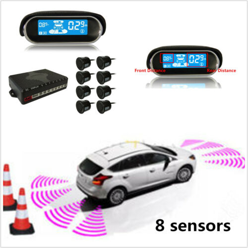Car LCD Display 8 Parking Sensor Rear Front View Reverse Backup Radar System Kit