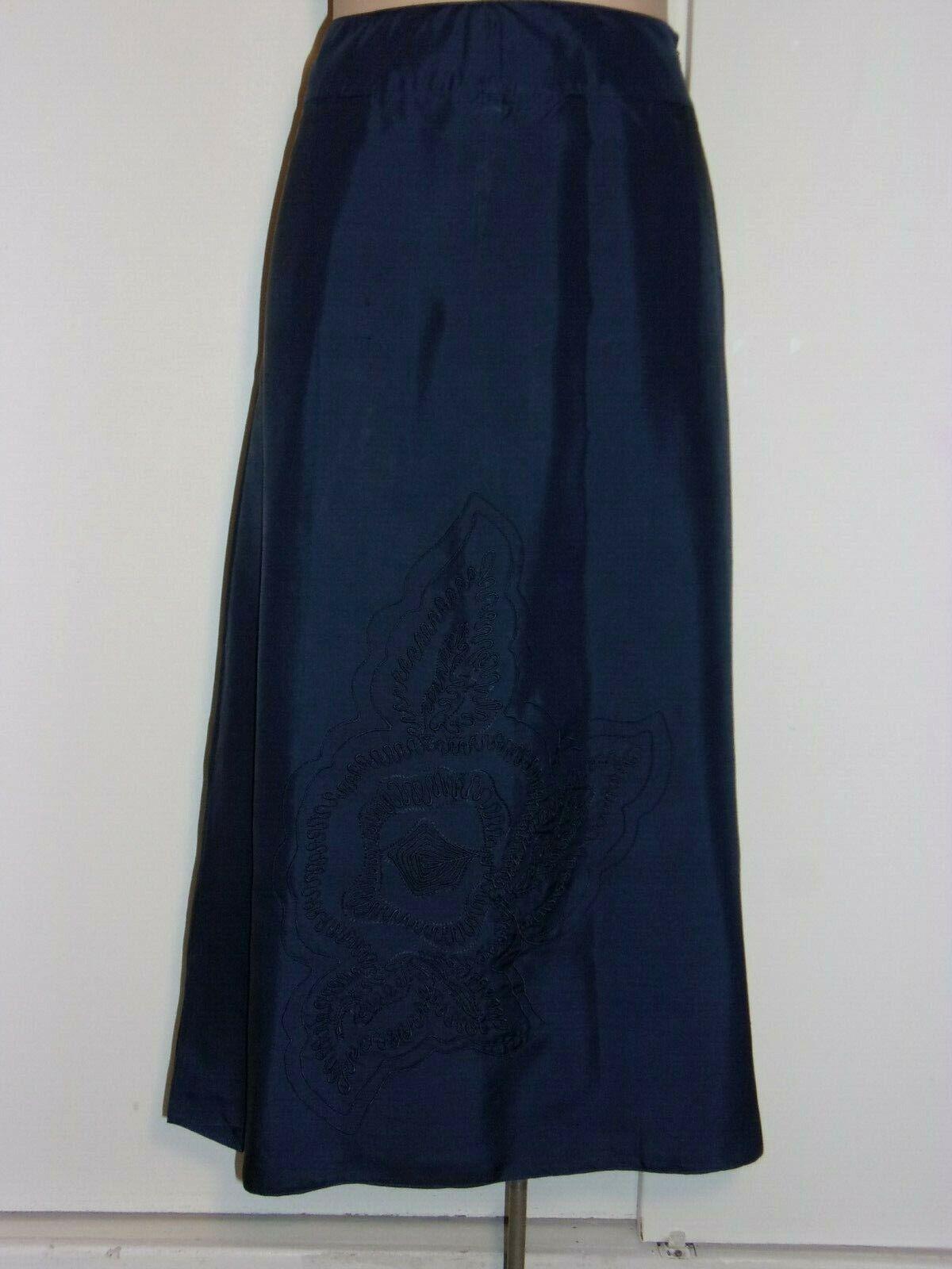 Evenement Toujours Womens 46 Blue Seta/Silk Skirt Wedding/Formal Wear