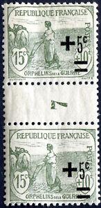 FRANCE-N-164-NEUF-PAIRE-AVEC-034-PONT-034-MILLESIME7-Variete-034-SURCHARGES-DEPLACEES-034