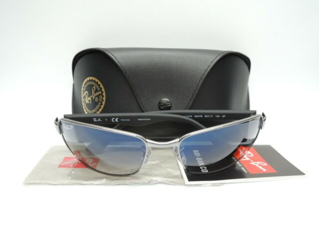 NEW Authentic RAY-BAN RB3478 004/78 Gunmetal/Crystal Blue Polarized Sunglasses