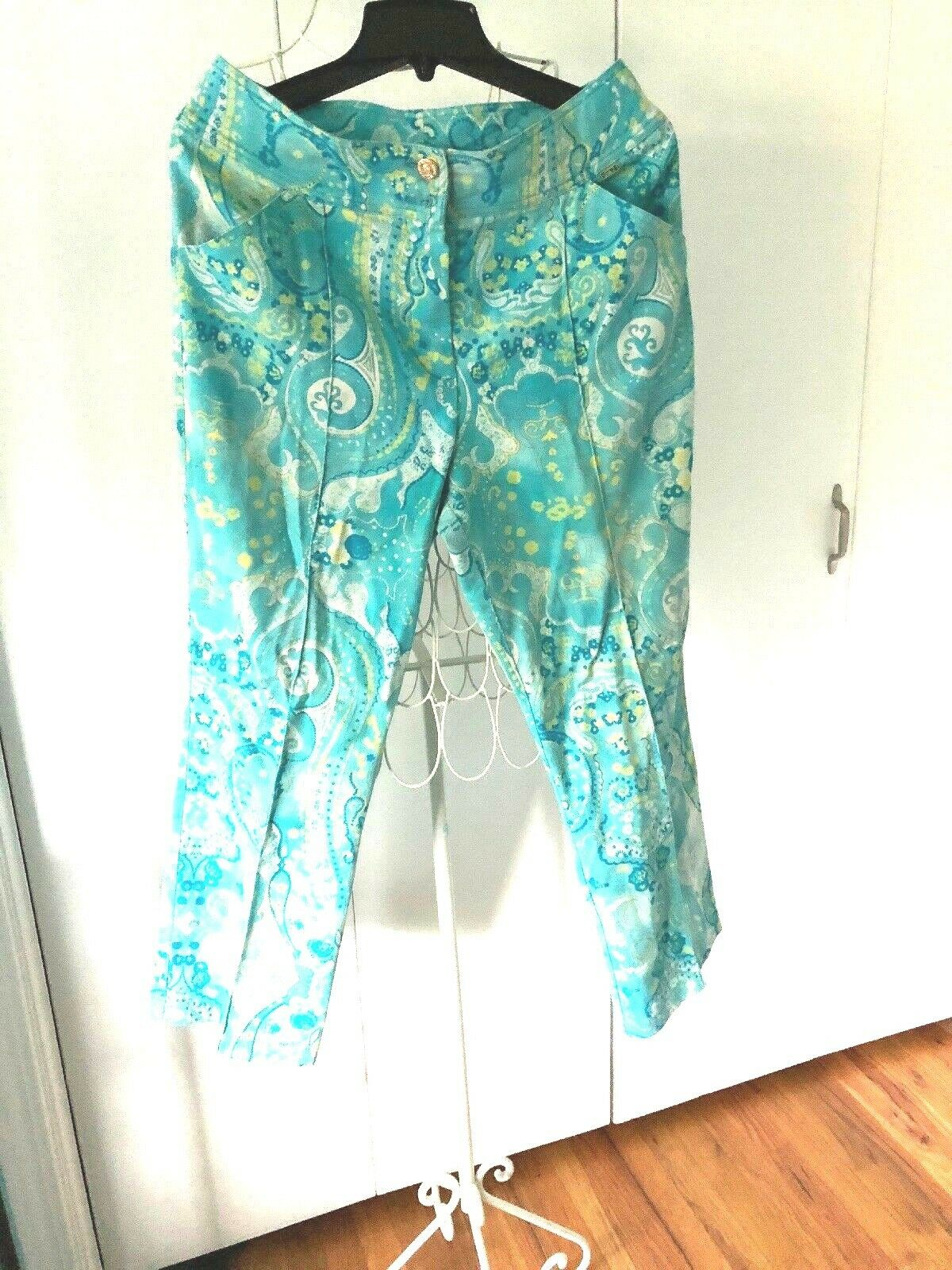 St. John Sport bluee Green, White, Yellow Paisley Print Pants, Size 12
