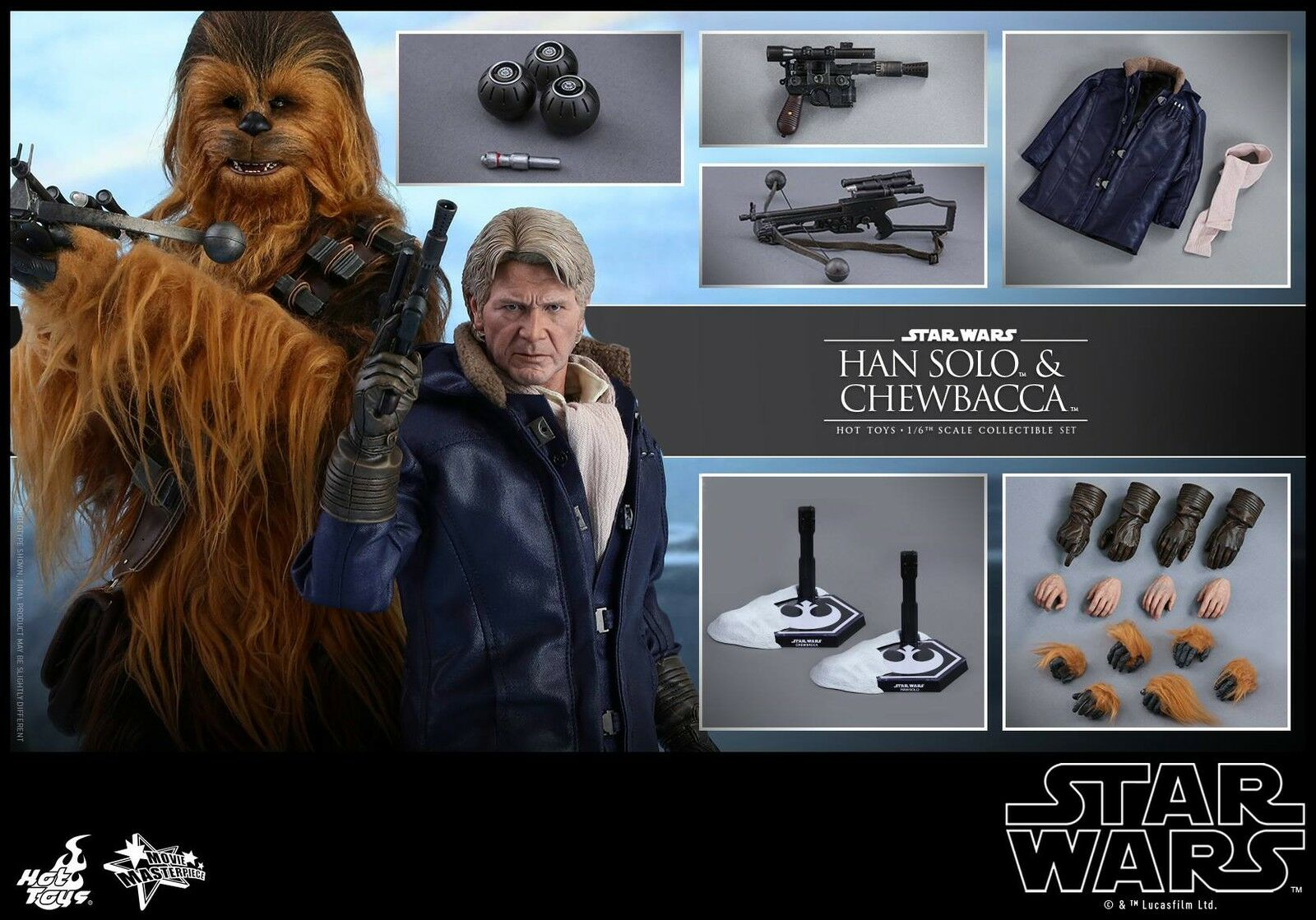 (US) Hot Toys 1 6 MMS376 Star Wars The Force Awakens Han Solo & Chewbacca Set