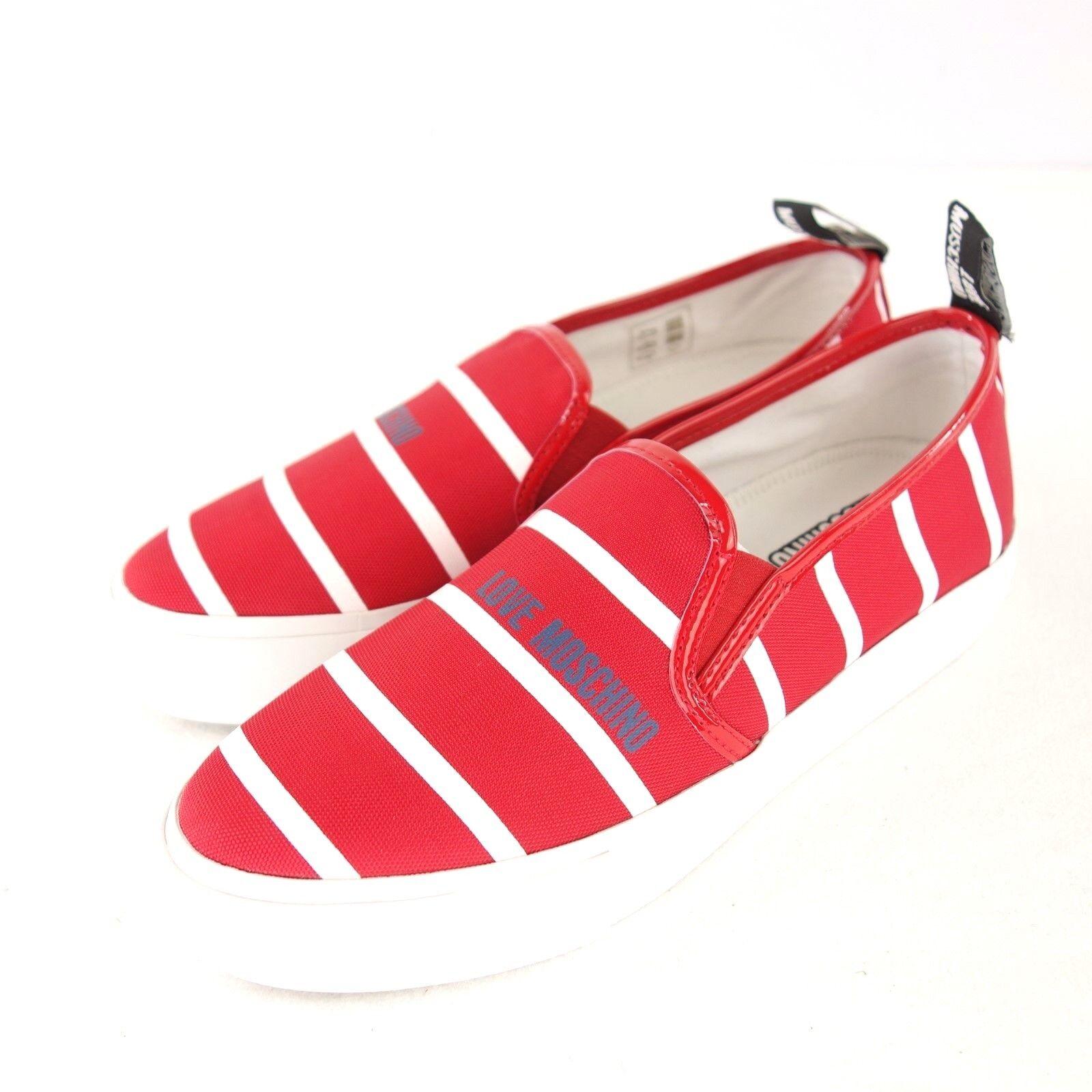 MOSCHINO LOVE Damen Sneaker 40 Rot Weiß Canvas Slip On Schuhe Low NP 159 NEU