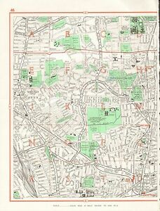 Tottenham London Map.1964 Vintage London Street Map Wood Green Tottenham Ebay