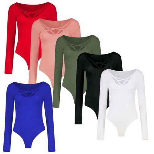 8-22 New Ladies Criss Cross Cage Neck Long Sleeve Bodysuit Tops Size UK