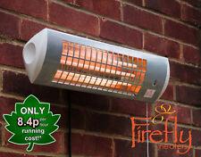 Firefly Wall Mounted Electric Patio Heater Halogen Tube Quartz Garden  Outdoor