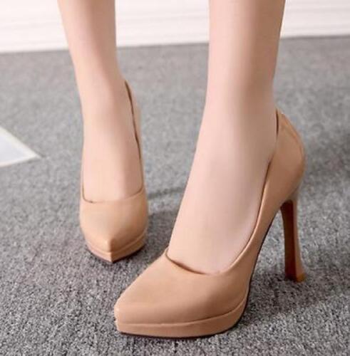 Para mujeres en punta de charol color puro Zapatos De Salón Tacón Alto Tacones De Aguja