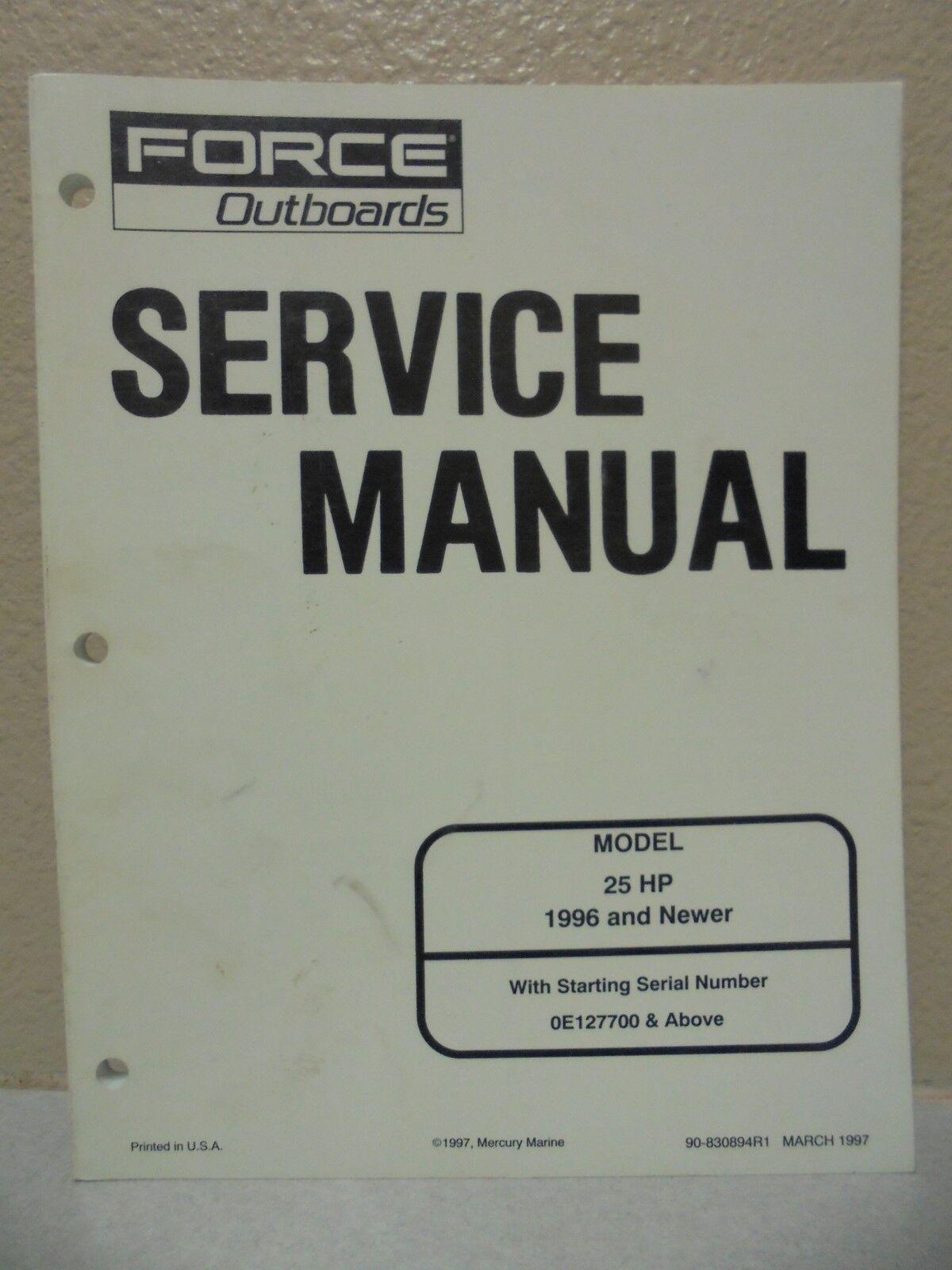1996 mercury force outboard service manual 25 hp ebay rh ebay com 25 HP  Mercury Outboard Diagrams 25 Motor Mercury HP Fourstrock