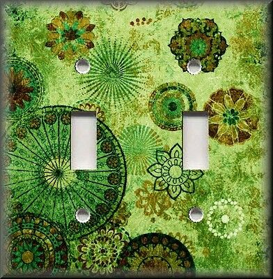 Metal Light Switch Plate Cover - Gypsy Boho Medallions Boho Home Decor Green