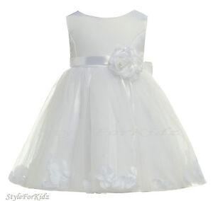 BABY-GIRL-WHITE-DRESS-CHRISTENING-WEDDING-BRIDESMAID-FLOWER-GIRL-PARTY-DRESSES