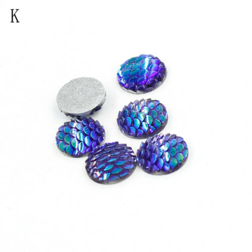 20Pcs 12mm Rhinestone Fish Scales Cabochons Cameo Jewelry craft Resin Flat Back