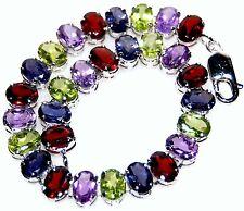 "Multi Color Gemstone Bracelet 925 Sterling Silver Tennis Bracelets 7½"" Jewellery"