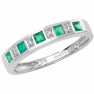 Emerald And Diamond Eternity Ring White Gold Anniversary Band Certificate Attraktiv Und Langlebig
