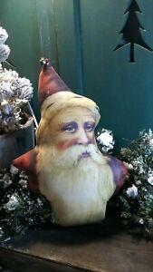 PRIMITIVE ANTIQUE VINTAGE VICTORIAN STYLE CHRISTMAS 3D FABRIC SANTA PILLOW DOLL