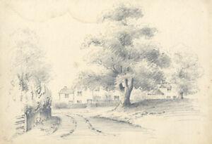 Attrib. John Samuel Bowles -19th Century Graphite Drawing, Kirklington Village