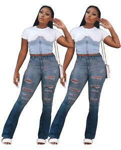NEW Women Stylish Ripped Burn Out Patchwork Casual Long Denim Jeans Bottom Club