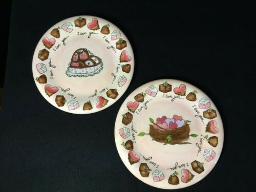 "of /""I Love You/"" Dessert Plates  1 Nest//1 Chocolate Box 2 RENAE LINDGREN Pair"