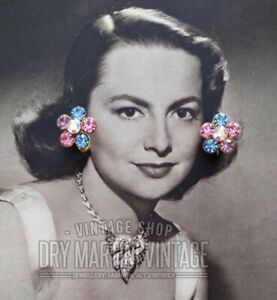 VINTAGE-50s-PASTEL-RHINESTONE-CLIP-EARRINGS-PERFECT-COND-BRIDAL-BEAUTIFUL-GIFT