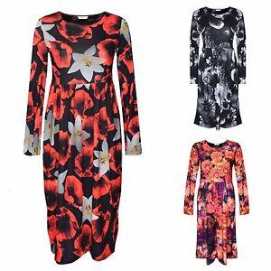 Ladies Long Sleeve Swing Dress Ladies A Line Skater Mini Dress Top New 8-26