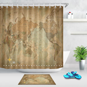 Shower Curtain Set Polyester Waterproof Fabric Hooks Antique World ...