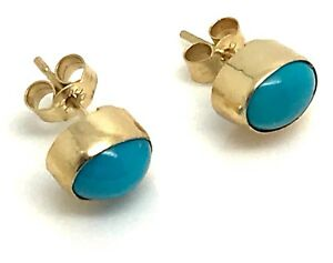 Image Is Loading 9ct Gold Turquoise Sleeping Beauty Oval Stud Earrings