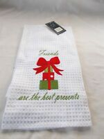 C & F Kitchen Dish Towel White 26 X 16 Christmas Friends Are The Best Pres