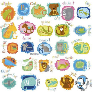 Image Is Loading Animal Alphabet Letters Wall Stickers 52 Decals School