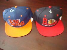 CHICAGO BEARS BLACKHAWKS LOT 2- HATS LOGO SCRIPT VINTAGE 90'S HAT CAP  SNAPBACK