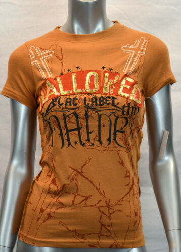 Large Brown New BLAC LABEL PINK Women/'s HALLOWED Short Sleeve T-Shirt