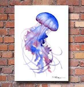 Purple Jellyfish Art Print Watercolor Painting Colorful Wall Decor Ebay