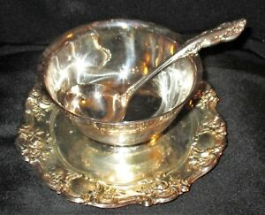 Antique Towle Silverplate Gravy Sauce Bowl Embossed Roses