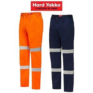 Mens-Hard-Yakka-Cotton-Drill-Pants-Reflective-Safety-Job-Work-Taped-Tough-Y02615