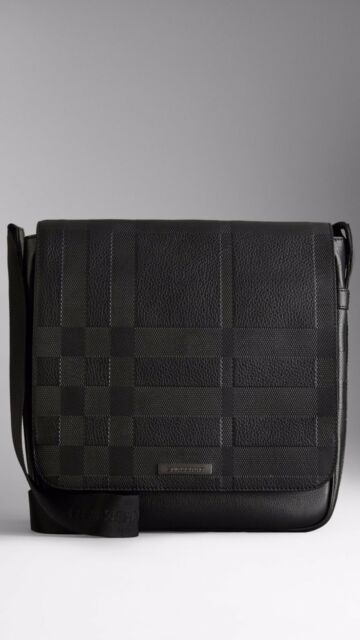 100% AUTHENTIC NEW BURBERRY LONDON RALLEY BLACK CHECK EMBOSSED MESSENGER BAG 4d540515dd89b