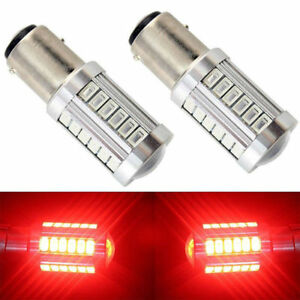 2x-Red-1157-BAY15D-33SMD-5730-LED-Turn-Signal-Tail-Brake-Stop-Reverse-Light-Bulb