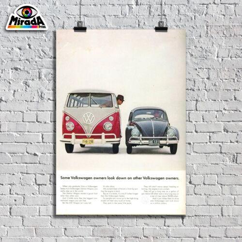 POSTER LOCANDINA VINTAGE VW WAGON BEETLE MAGGIOLINO  SAMBA AUTO FAMILY QUALITY