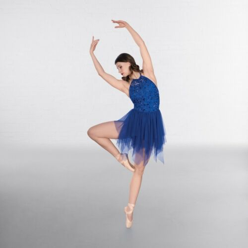 1st Position Embroidery Blue Sequin Lyrical Dance Dress