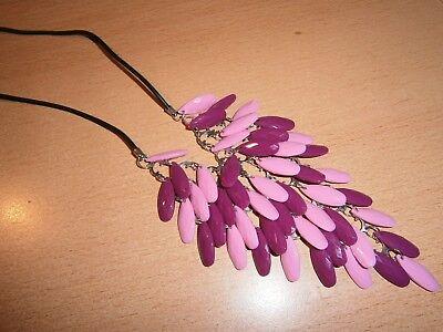 1 Halskette - Kautschuk-plättchen-lila/rosa - Neu Und Ungetragen-modeschmuck Hohe QualitäT Und Preiswert