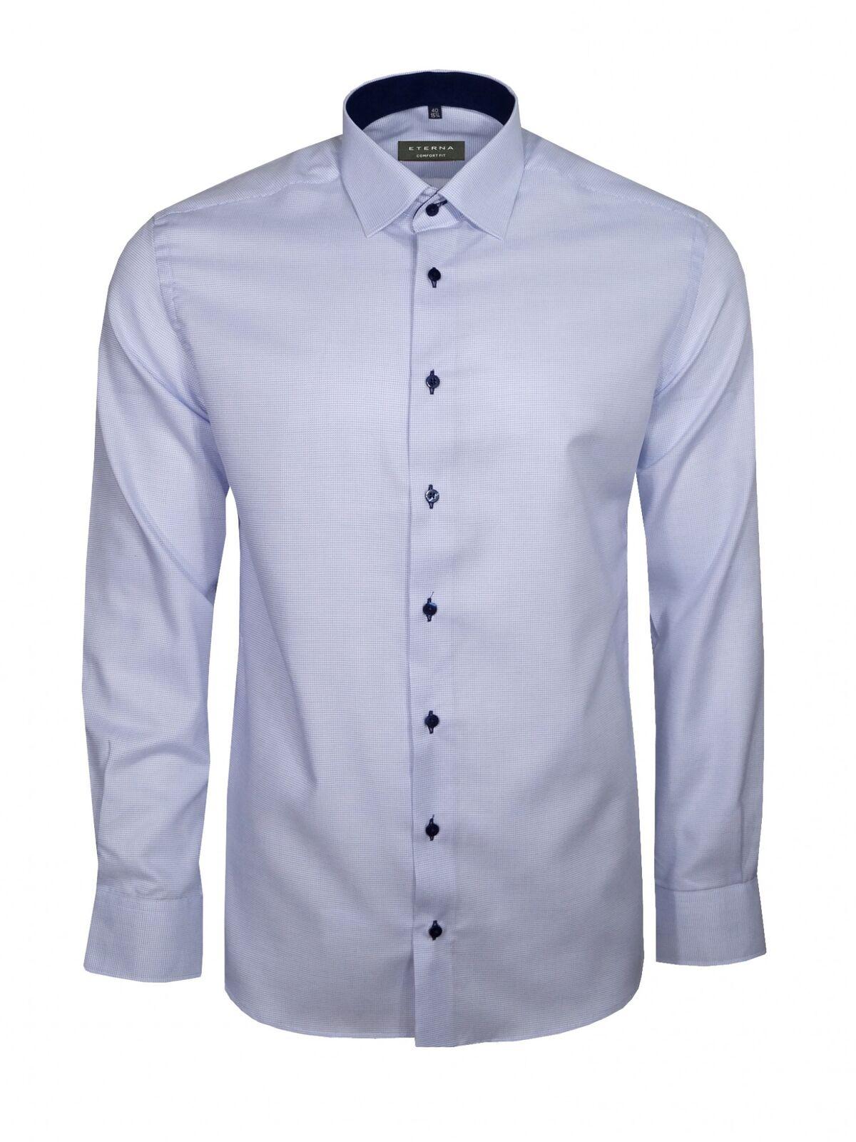 Eterna Herren Hemd Langarm Comfort Fit 4671 11 E147 Blau Strukturiert XXL 45 | Verschiedene Waren