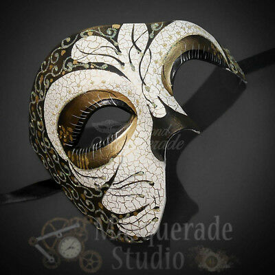 Mens Diamond Pattern Phantom of the Opera Venetian Masquerade Ball Mask Silver