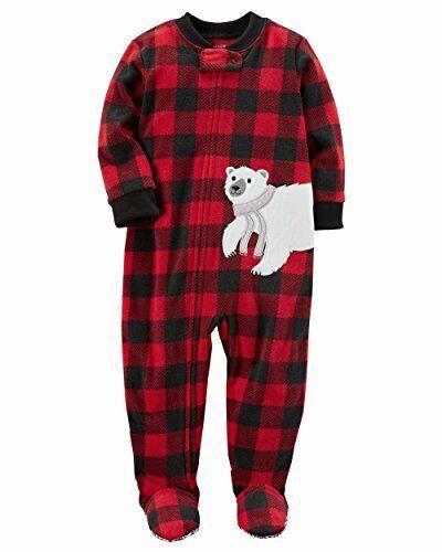 Carters Toddler Boy/'s Red Buffalo Check Polar Bear Fleece Pajama Sleeper