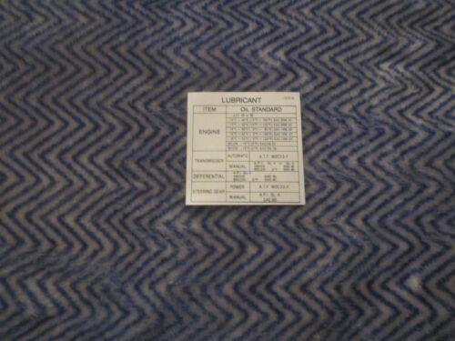 1979-1980 MAZDA RX7 LUBRICATION DECAL