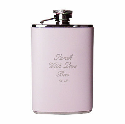Personalised Pink Leather Hip Flask 3.5oz- Free Laser Engraving-Bridesmaid Gift!