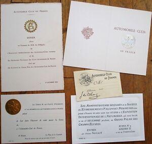 Details about Automobile Club de France 1930s Menu, Membership Card & Other  Papers - Car/Auto
