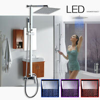 Us 8 Led 3 Color Light Rain Shower Head Faucet Wall Mounted Chrome Hand Shower