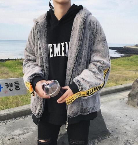 Men/'s Winter Hooded Fur Slim Loose Jacket Outdoor Warm Casual Parka Zip Coats US