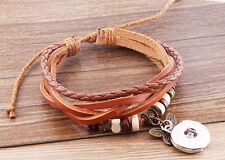 hot handmade DIY nosa lether bracelet fit chunk snap button j3484