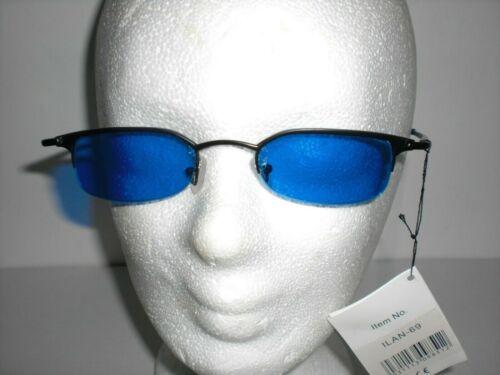 rot blau schmal Sonnenbrille schwarzer Rahmen Damen Herren u oranges Glas