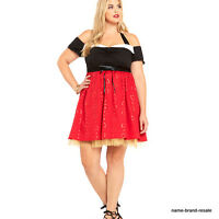 Disney $64 Womens Plus 28 4x Red Queen Hearts Dress Alice Looking Glass