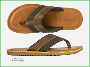 misil Así llamado Iniciativa  Sandalias de Hombre Geox Chanclas Piel Zapatillas Cuero Zapato Verano Artie  Café | eBay