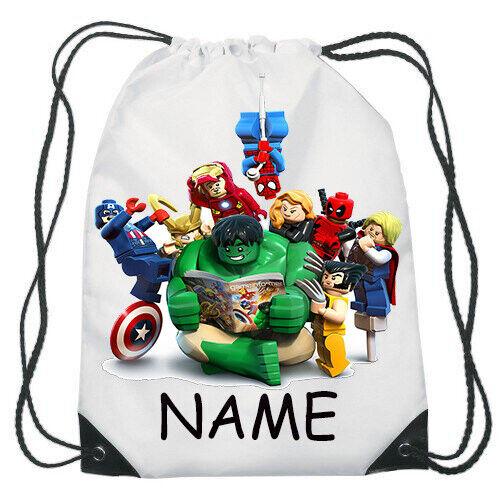 Avengers Lego Super Heroes Drawstring Gym Bag School Backpack Personalised Name